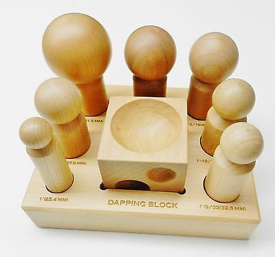 Dapping Block and Punches Wooden Set 7 Sizes Wood Forming Doming Jewelry Making
