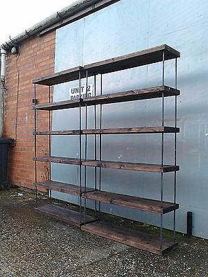 Fantastic Industrial Chic Solid Steel Hairpin Walnut Bookcase Shop Display