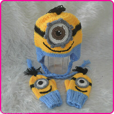 New Baby Despicable Me Minion Gloves&Hat Handmade Knitted Gloves&Hat