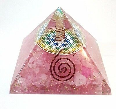 Orgone Rose Quartz Flower Of Life Pyramid With Charge Crystal Point Coil Copper