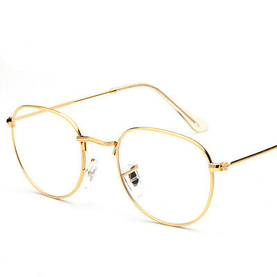 Clear Lens Aviator Gold Glasses Fashion Sunglasses Retro Vintage Style Metal