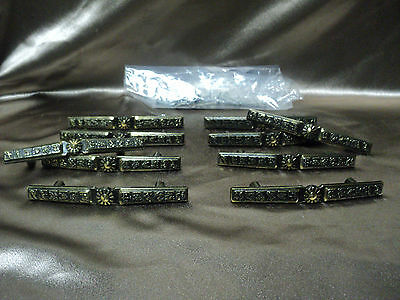 "Pretty VtG Dresser Hardware Pull Handles Lot of 10 & Screws Approx 4.5"" Length"