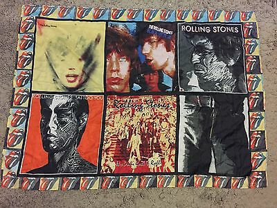"ROLLING STONES Vintage Silk Wall Hanging Scarf Album Covers 34.5"" X 47.5"""