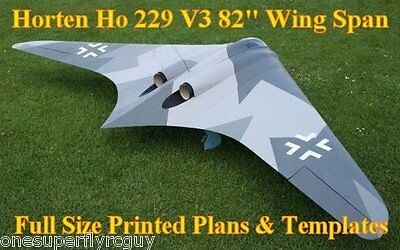 Horten Ho-229 V3 Giant Scale RC Airplane Full Size PRINTED Plans & Templates