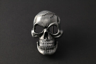 3D Large Skull Belt Buckle Metal With Movable Jaw