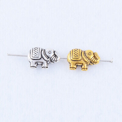 10/30/120pcs Tibetan Silver/Gold Animal Elephant Charms Spacer Beads DIY 12x8mm