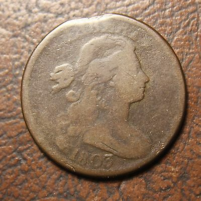 1803 Draped Bust Large Cent, S-258, Small Date, Large Fraction, Clipped Planchet