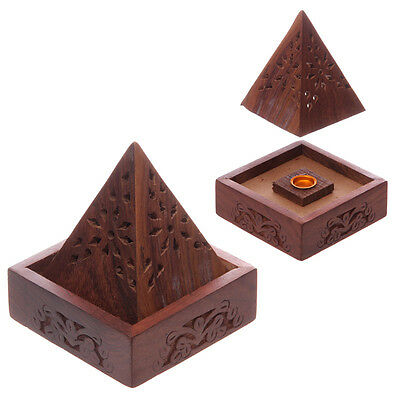 Pyramid Sheesham Wooden Incense Joss Stick Burner Holder Box with Fretwork IF198