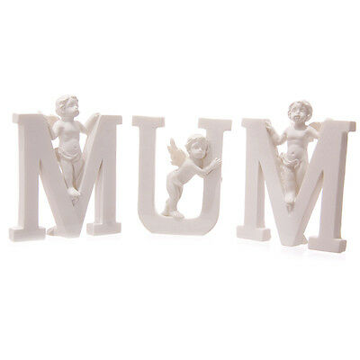 White Cherub MUM Set of 3 Letters Mothers Day Birthday Christmas Memorial CHE51E