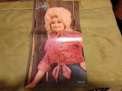 vintage DOLLY PARTON POSTER full color 21 x 11 RCA AHL1-1117 stereo