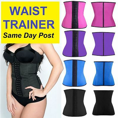 AU Women Latex WAIST TRAINER Training Corset Cincher Body Shapewear - FREE POST