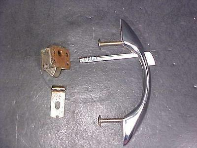 NOS Vintage Streamlined Chrome Cabinet Handle Pull with Push Button Latch Catch
