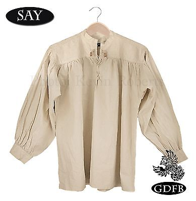 Celtic Shirt Beige Laced Neck + Wood Toggles, Billow Sleeve SCA Pirate Ren Fair