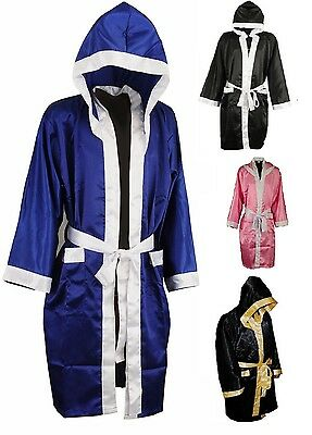 NEW Men HOODED SATIN BOXING ROBE MUAY THAI BOXING KICK BOXING MMA UFC BOXING RN