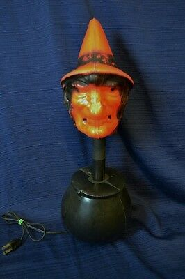 Vintage 1960's WITCH IN CAULDRON Lamp Halloween Plastic