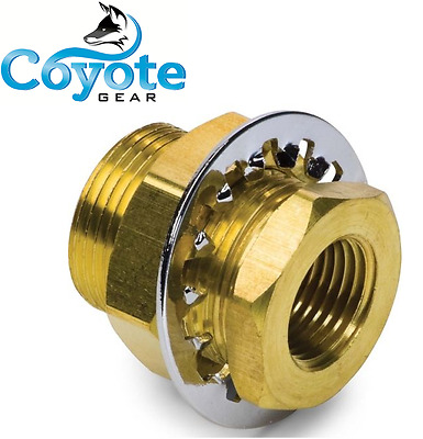 "1/4"" Female NPT x 3/4"" Long Brass Bulkhead Anchor Reducer Fitting Coyote Gear"
