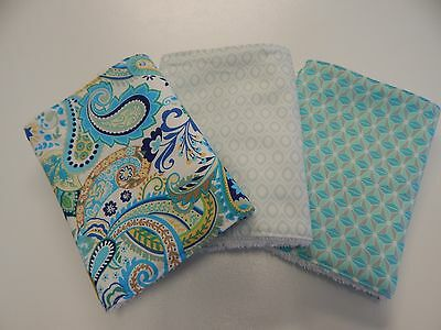 Burp Cloths Boho Blue Heaven 3 Pack Toweling Backed - 100% Cotton Great Gift!!