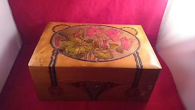 Antique Pyrography Box Red Colored Flowers Art Nouveau Painted