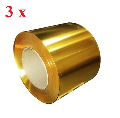 3 x Brass Metal Thin Sheet Foil Plate 0.02 x 100 x 1000 mm