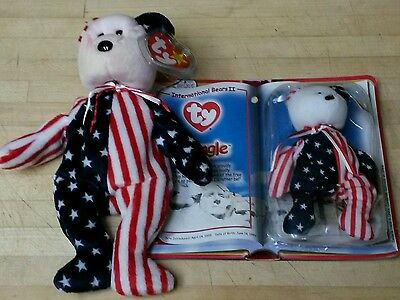 """Ty Beanie Baby """"SPANGLE RED"""" Bear 1999 RETIRED New with TAG + Teenie Beanie pair"""