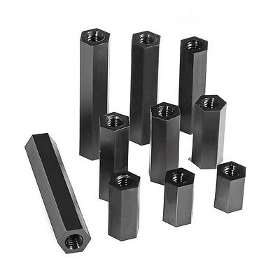 20x M3 M4 Hex Tapped Nylon Spacer Stand-Off Female to Female Black Spacer