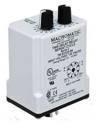 MACROMATIC TR-55128-08 Time Delay Relay,24VAC/DC,10A,DPDT