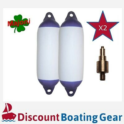 2 x Blue Tip Twin Eye Boat Fender 450mm x 120mm with Inflation Adapter Mooring