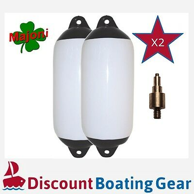 2 x 450mm x 120mm Inflatable Black Tip Boat Fender with Inflation Adapter