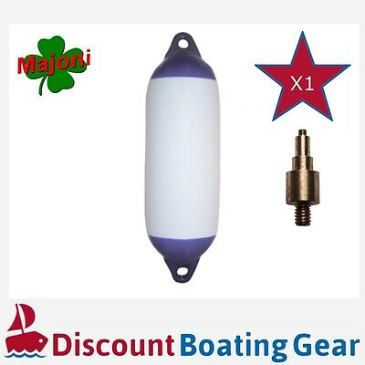 1 x Inflatable Blue Tip Marine Fender 580mm x 150mm with Inflation Adapter