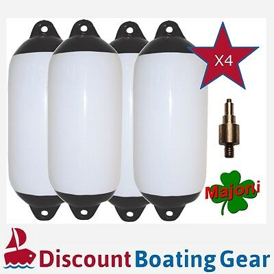 4 x Inflatable Black Tip Boat Fender 450mm x 120mm with Marine Inflation Adapter