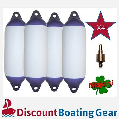 4 x Inflatable Blue Tip PVC Marine Fender 450mm x 120mm with Inflation Adapter