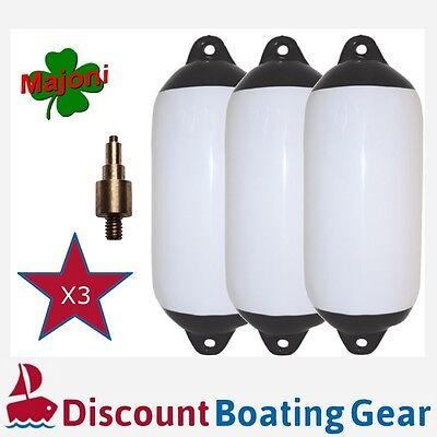 3 x Black Tip Inflatable Boat Fender 450mm x 120mm with Marine Inflation Adapter