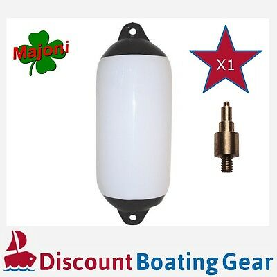 1 x 450mm x 120mm Inflatable Black Tip Marine Fender with Inflation Adapter