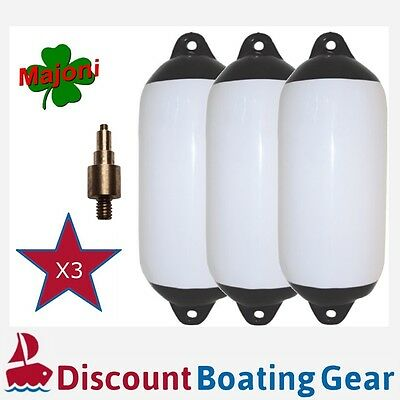 3 x Inflatable Black Tip Boat Fender 580mm x 150mm with Marine Inflation Adapter