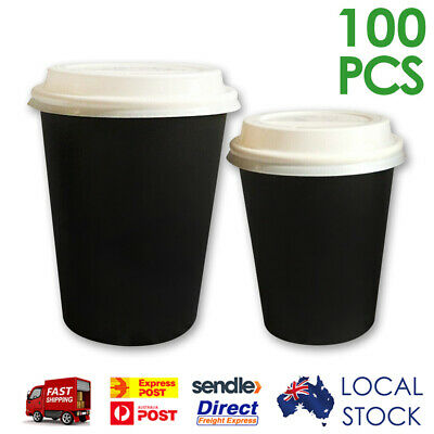 100 Sets x 8oz/ 12oz Single Wall Coffee Cups with Lids (DISPOSABLE PAPER)