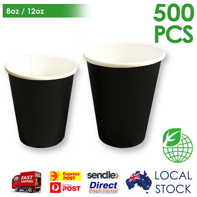 500/1000 Pcs Black Disposable Coffee Cups 8oz/ 12oz Takeaway Paper Single Wall