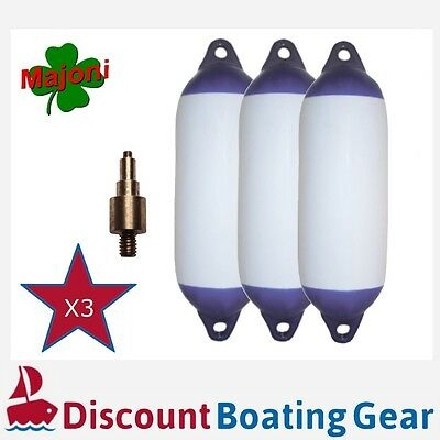 3 x Inflatable Blue Tip Boat Fender 580mm x 150mm With Marine Inflation Adapter