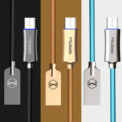 Micro USB Smart LED Auto Disconnect Quick Charge Data Cable Android QC 3 Mcdodo
