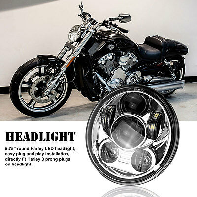 "Silver 5.75"" Motorcycle Projector Daymaker LED Light Bulb Headlight For Harley"