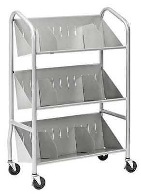 BUDDY PRODUCTS 5414-3 Book Cart, Steel, 150 lb., Silver
