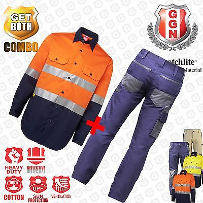 Hi Vis Work Shirt and Cargo Pants Combo Deal! COTTON DRILL, 3M Reflective,