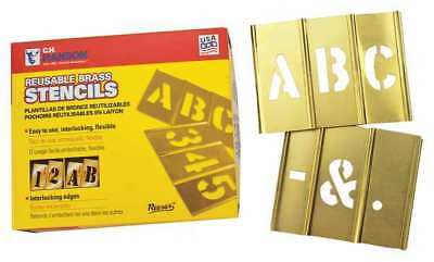 REESE INTERLOCKING STENCILS 10026 Stencil, Letters, Brass, 1/2in.W x 1/2in.H