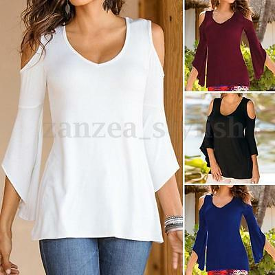 Women's Cold Off Shoulder Bell Long Sleeve Casual Basic Tops Blouse T-shirt Tee