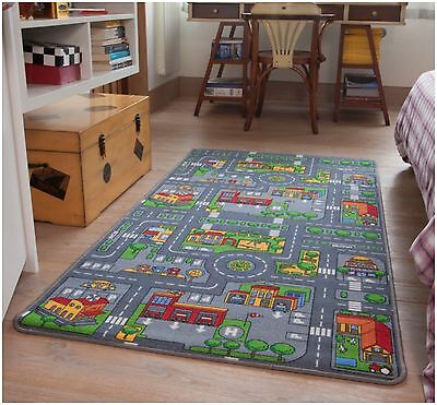 Children's Rugs Town Road Map City Rug Play Village Mat 95x133cm Fun Infant Mats