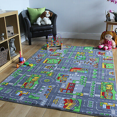 Children's Rugs Town Road Map City Rug Play Village Mat 100x165cm Fun Infant Mat