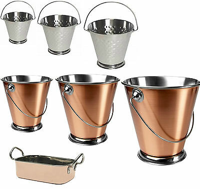 Stainless Steel & Copper Presentation Centerpiece Buckets & Mini Roasting Dish