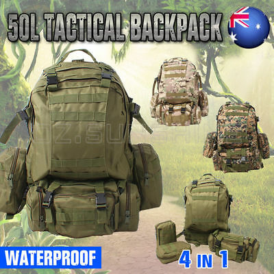 New 50L Camping Backpack Army Military Tactical Outdoor Rucksacks Hiking Bag AU