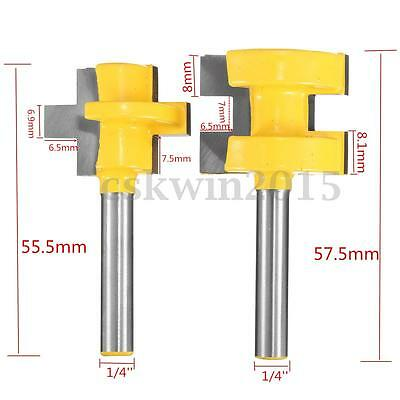2Pcs 1/4'' Shank Matched Tongue & Groove Router Bit Wood Woodworking Tool Kit