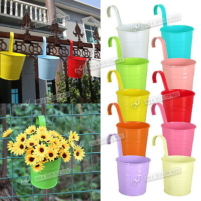 Metal Iron Flower Pot Hanging Balcony Garden Plant Planter Home Decoration