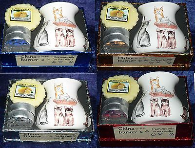 Cats Bone China Oil Burner gift boxed with Yankee wax tart and 2 x tealights